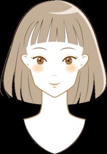 オン眉の短め前髪